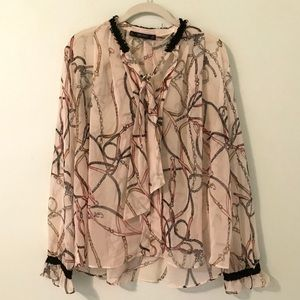 Zara Patterned Sheer Blouse
